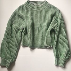 Sweaters - Cropped Knit Sweater Size S/M Green/Lavender